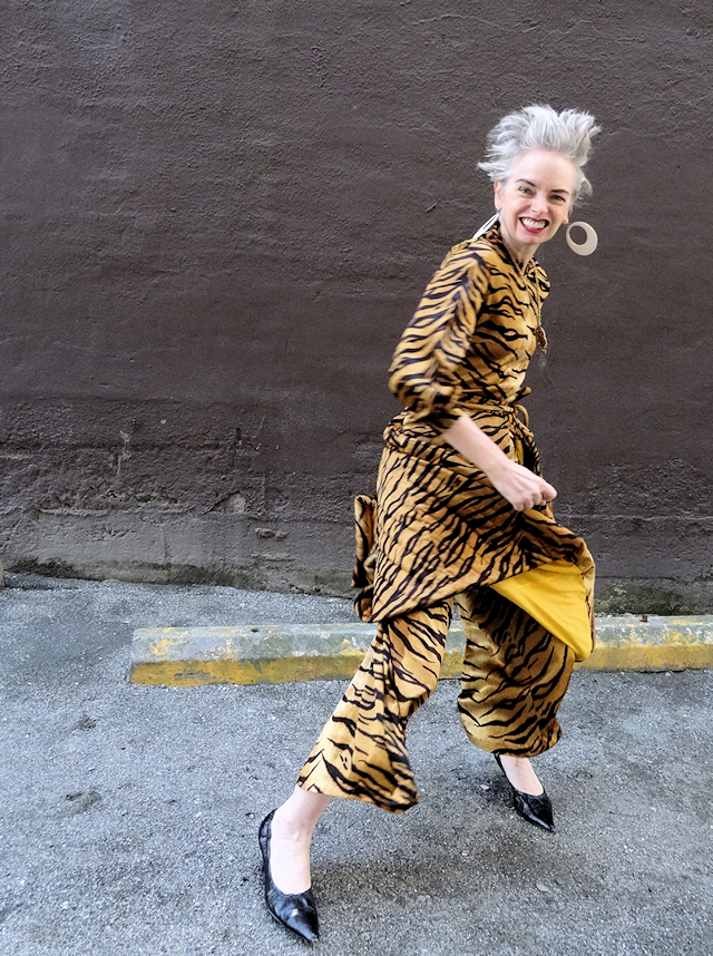 Melanie Kobayashi of Bag and a Beret in vintage tiger onepiece with quilted skirt.