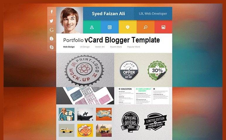 vCard Portfolio Single Page Blogger Template