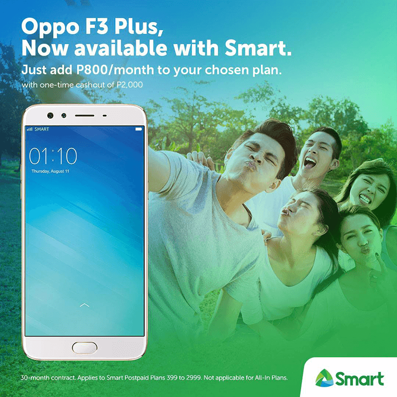Add PHP 800 Per Month And Get The OPPO F3 Plus At Smart