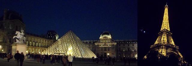 Viaje a París: nocturno: Pirámide del Louvre y Torre Eiffel iluminados