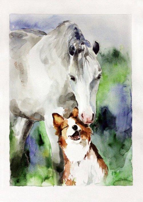 Elena Shved deviantart pinturas aquarelas coloridas animais manchados cavalos gatos cachorros leões tigres cores