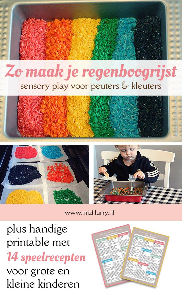 sensory play regenboog rijst pinterest
