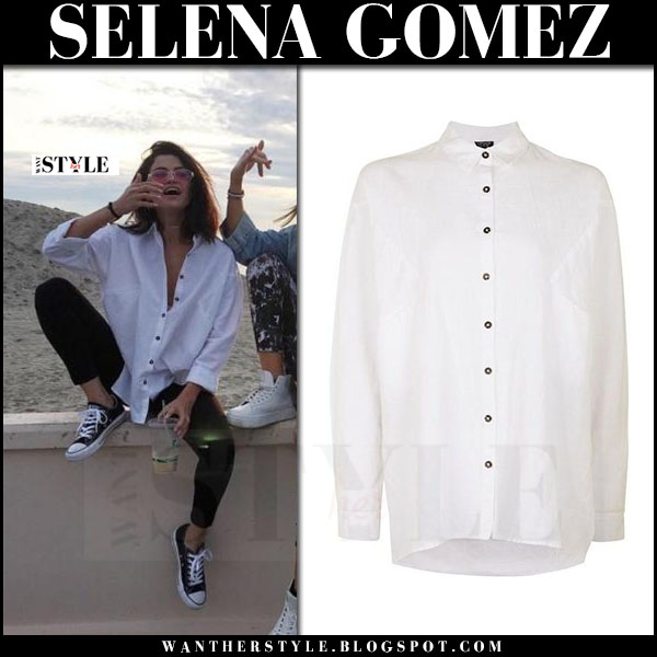 Selena Gomez in white shirt topshop, black skinny jeans and black sneakers converse what she wore