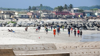 Ghana locals playing with football