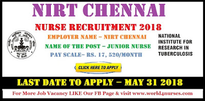 NIRT Chennai Staff Nurse Recruitment 2018