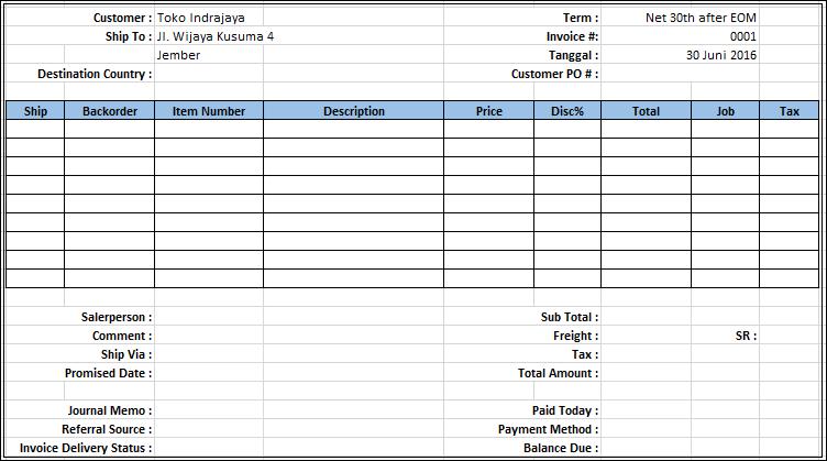 Download Contoh Invoice Faktur Nota di Excel - Belajar Excel