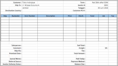 Download Contoh Invoice Faktur Nota Di Excel Belajar Excel