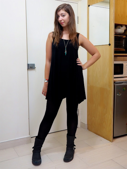 Black is the new Black   outfit of loose, floaty black slip dress with black tights, biker boots and tribal silver jewellery