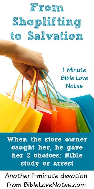 Salvation, shoplifting, Bible study