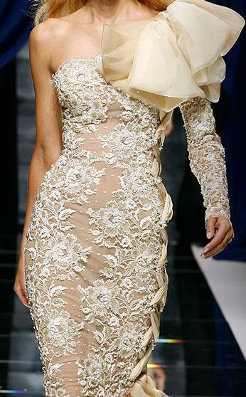 cream lace, Zuhair Murad