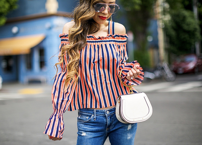 topshop Stripe Tiered Sleeve Off the Shoulder Top, quay australia x Desi Perkins High Key 62mm Aviator Sunglasses, quay sunglasses, chloe nile bag, ag jeans, christian louboutin so kate pumps, topshop off shoulder top, san francisco fashion blog, san francisco street style, kendra scott Misha Tassel Earrings