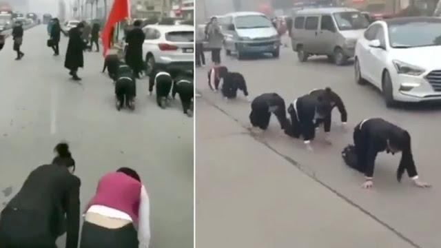 Tak Penuhi Target, Karyawan di China Dipaksa Merangkak di Jalan
