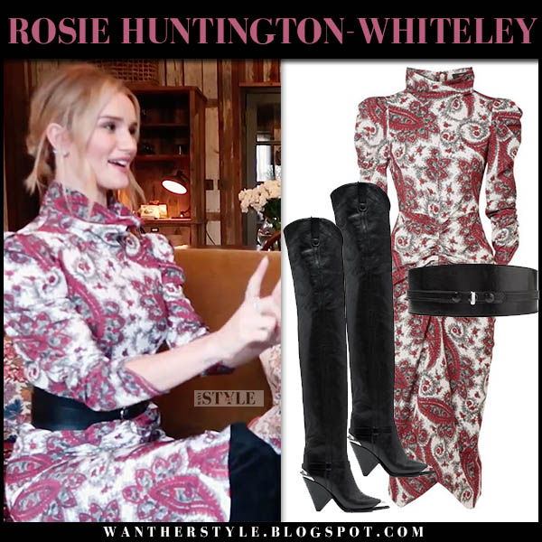 f0bf8c80c01 Rosie Huntington-Whiteley in burgundy paisley print high neck dress and  black boots