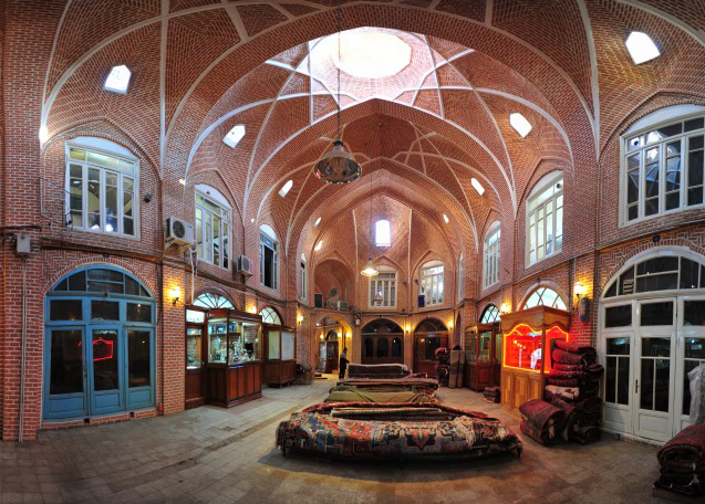 brick works on the dome ceiling and walls of historical Tabriz Bazaar.