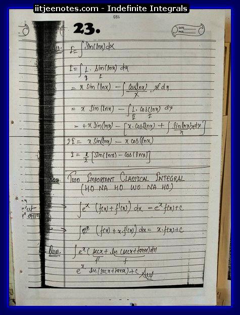 indefinite integrals notes 9