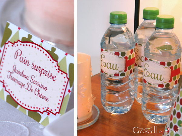 Sweet table Noël vert étiquettes / Evergreen Christmas labels