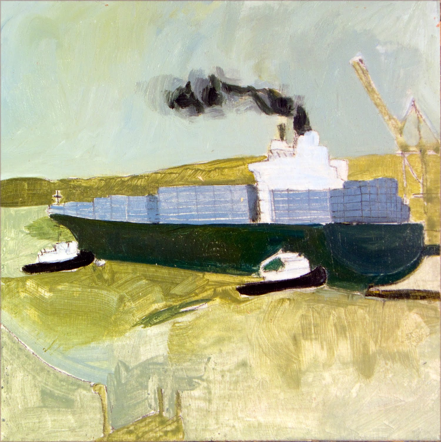 Brian Sloan, artist, painting, art, acrylic paint, Container Ship
