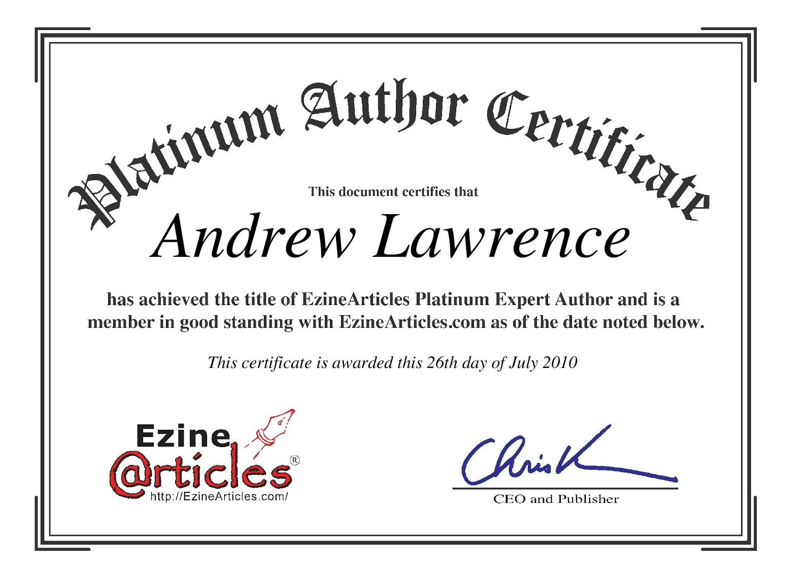 platinum author certificate