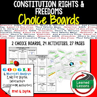Civics and Government Digital Learning Choice Boards, Google Lessons, Constitutional Rights and Freedoms