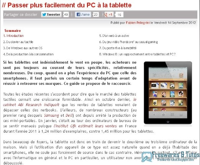 Le site du jour : Passer plus facilement du PC à la tablette