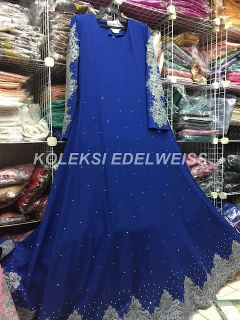 Dress Abaya Glam Warna Royal Blue  Lace Kelabu