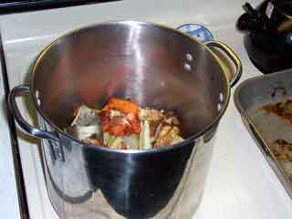Brown Stock Veggies & Bones in Stockpot