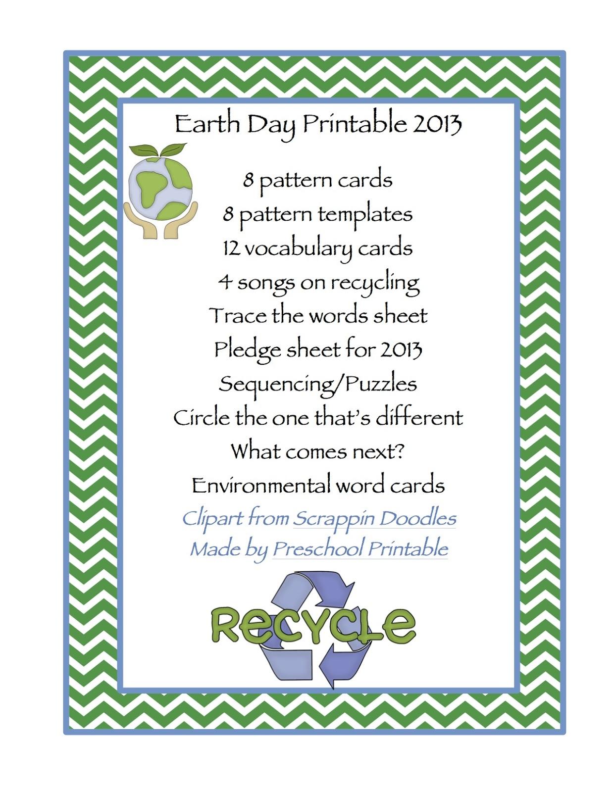 Earth Day Printable Preschool Printables