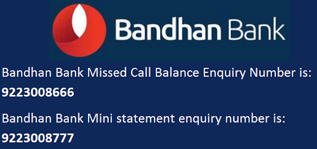 Bandhan Bank Missed Call Balance Enquiry or Mini Statement Inquiry by Toll Free Number