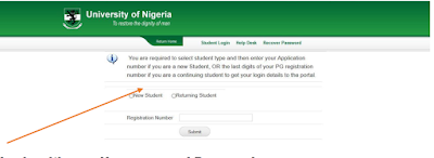 New Student and enter your Application number.