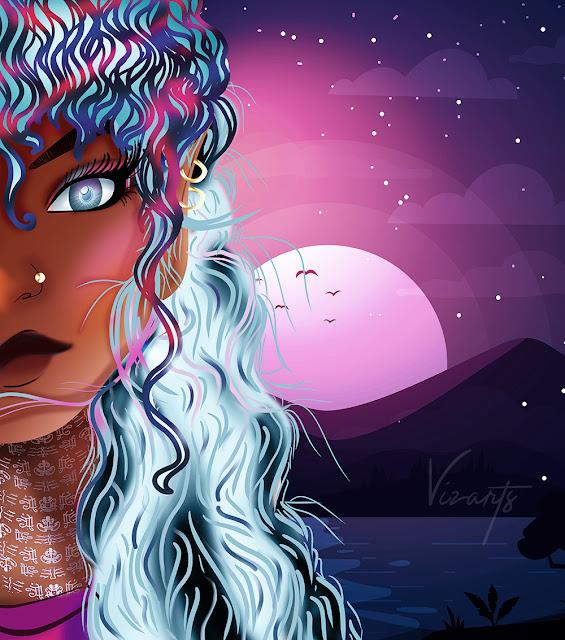 Visualartzi Reya Elvin Girls pretty anime girl digital painting fantasy illustration, 2d digital art photoshop digital painting, african american, black women beautiful anime, webtoon, webcomic