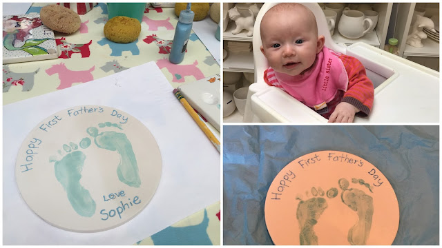 Unglazed and glazed placemat with baby footprints and a baby in a highchair