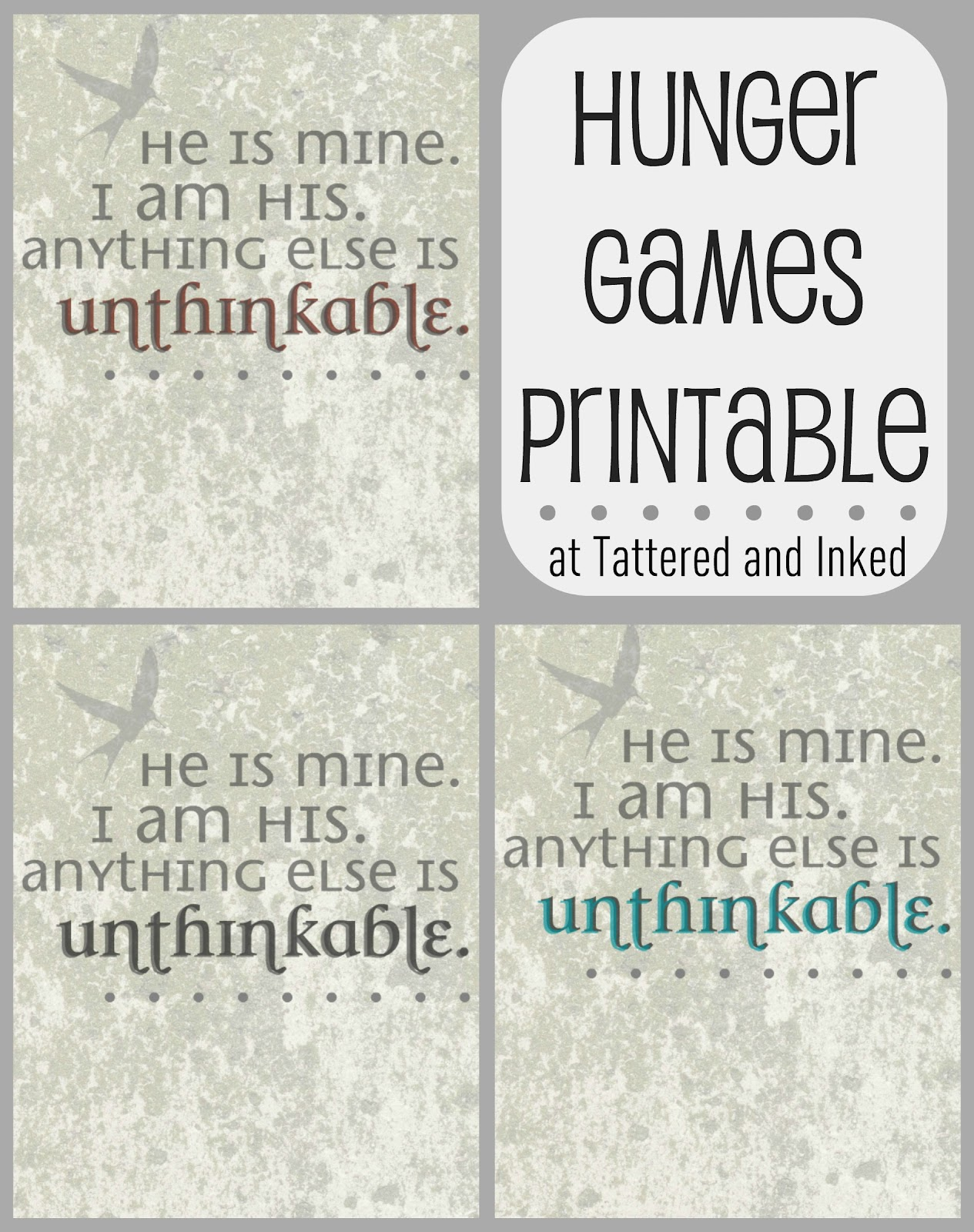 Tattered And Inked Hunger Games Inspired Printable