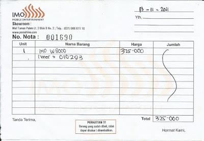 Nota Pembelian IMO W8000