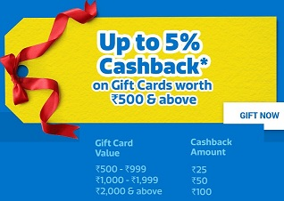 Flipkart Gift Card – Get 5% Cashback on Min Rs.500 & above (Valid till Today)