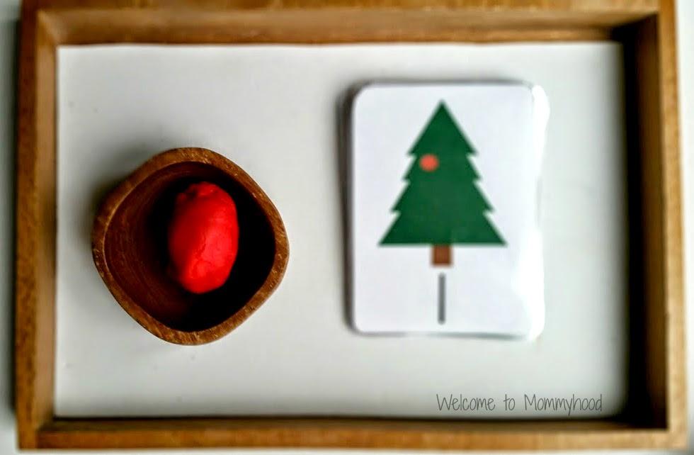 Christmas Activities For Kids: Counting cards and Montessori Inspired Activities {Welcome to Mommyhood} #ChristmasActivitiesForKids, #christmasActivities, #montessori, #christmasplaydough