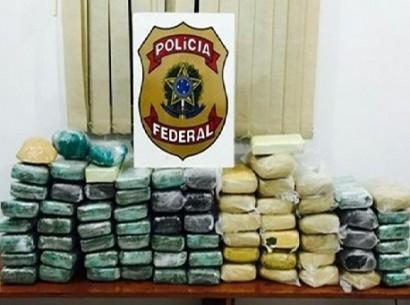 Polícia Federal prende dois homens e apreende 74 quilos de droga