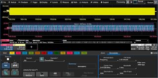 This screen capture depicts frequency demodulation and subsequent Manchester decoding of the bit stream