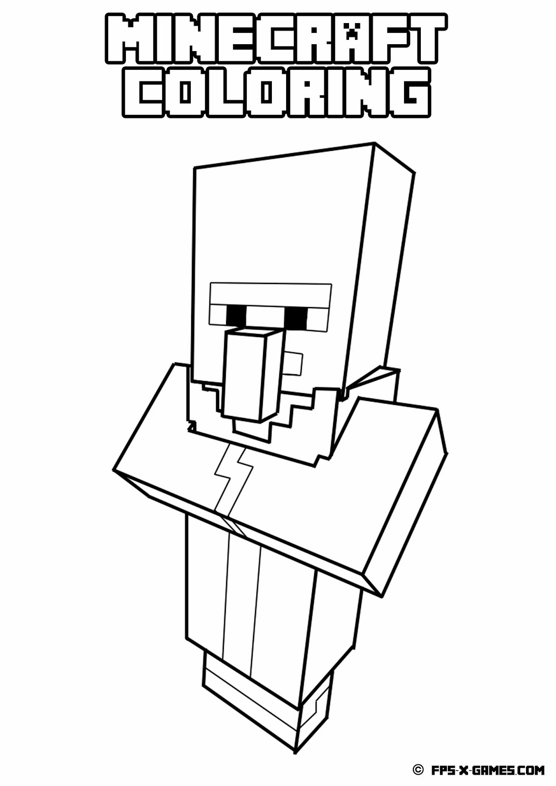 Printable minecraft coloring villager for Minecraft mutant creeper coloring pages
