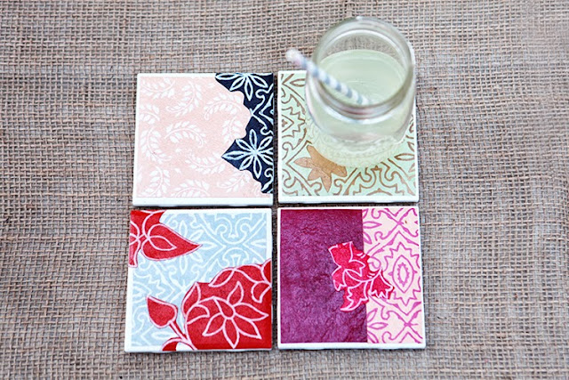 Diy drink coasters from tiles paper for Handmade drink coasters