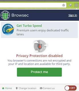 Browsec VPN yang sudah terinstall di Google Chrome