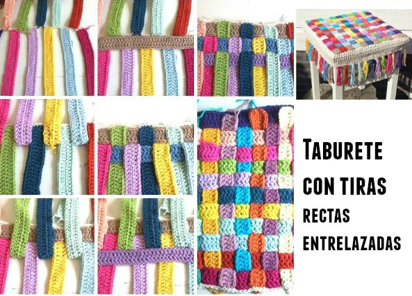 Funda taburete con tiras de crochet entrelazadas