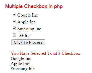 php checkbox --Get multiple Checkbox value using PHP
