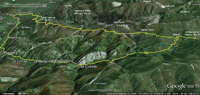Mapa 1 Camín Real de Sellón - Asturias