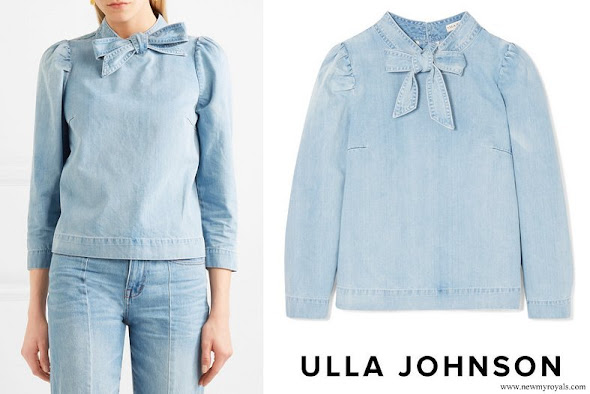 Crown Princess Mette Marit wore ULLA JOHNSON Wes-Bow Embellished Denim Blouse