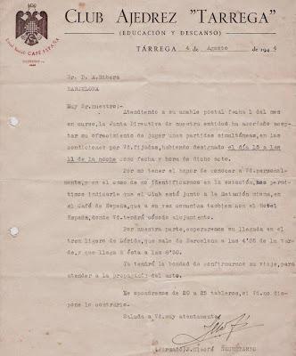Notificación del Club Ajedrez Tárrega en 1944