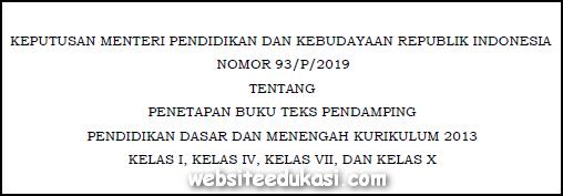 Kepmendikbud Nomor 93/P/2019 Penetapan Buku Teks Pendamping