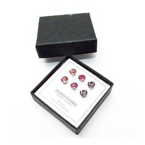 Offer £13.59 End of line clearance.3 Pairs of silver stud earrings handmade SWAROVSKY