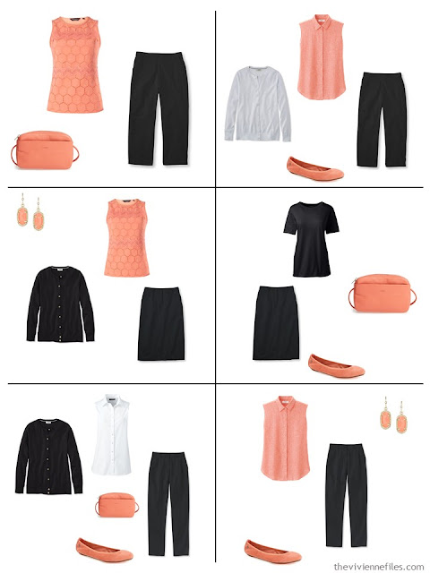 six outfits in black, white and coral, for warmer weather