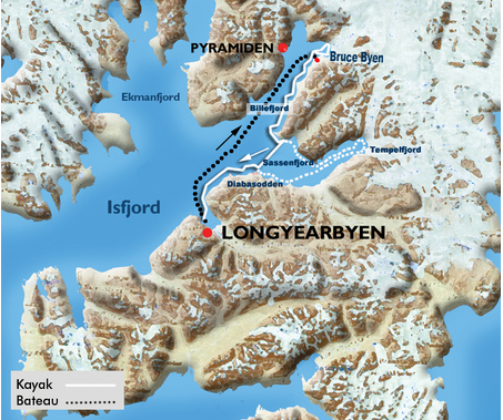 carte itinéraire svalbard spitzberg kayak