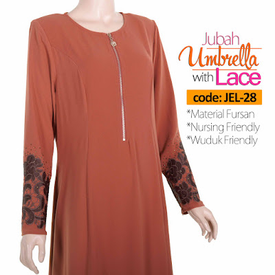 Jubah Umbrella Lace JEL-28 Persian Brown Depan 6